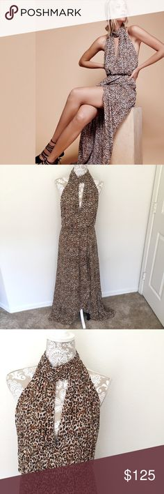 """NWT Free People Animal Print Halter Dress - Size 6 Unleash your inner animal with Free People's sexy animal patterned maxi dress. It comes with a high neckline with a cute front cutout and strappy racerback design.  New with tags. Brand tag coming up at one corner. Size 6. Retails $350. Halter Neck. Length from neck: 62"""". Free People Dresses Maxi"""