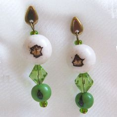 Brazilian White Paxiubao and Green Acai Seeds and Green Glass beads Earrings via LauraBijoux. Click on the image to see more!