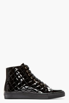 Versus Black Patent Leather Quilted Sneakers for men | SSENSE