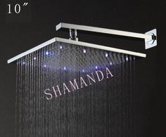 Free Shipping 10 inch LED shower head with brass 250*250 self-powered led shower head light shower three color 20012