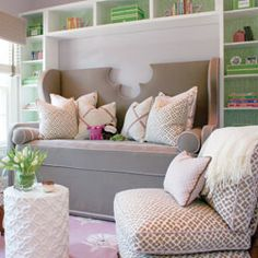 upholstered daybed @ Home Improvement Ideas (No instructions, just the photo. but love that it's surrounded by bookcases and the top has a cutout for visual interest! Big Girl Rooms, Kids Rooms, Kids Bedroom, Bedroom Decor, Built In Bookcase, Bookshelves, Upholstered Daybed, Sweet Home, Home Decor Inspiration