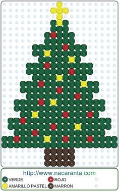 ArbolNavidad EN HAMA BEADS PATRON                                                                                                                                                                                 Más Christmas Perler Beads, Christmas Cross, Christmas Ornaments, Christmas Tree, Fuse Beads, Pearler Beads, Hama Beads Patterns, Beading Patterns, Plastic Canvas Ornaments