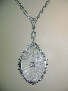 14k White Gold Filigree Camphor Glass and Diamond Pendant - This lovely chain and pendant set dates from the late Art Deco period in the late 1920s