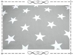 Stoff Sterne - Baumwolle, weiße, große Sterne auf grau - ein Designerstück von imagine-shop bei DaWanda