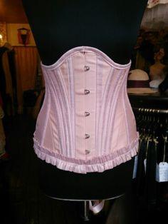 Pink silk hip gore underbust corset