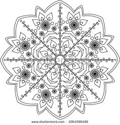 Hungarian motifs mandala. Adult coloring page. Red, orange and green colors. Vector illustration.