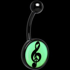 Black Titanium Treble Clef Peace Glow in the Dark Belly Ring | Body Candy Body Jewelry