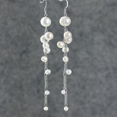 Pearl earrings chandelier long dangle bridal by AniDesignsllc, $9.95