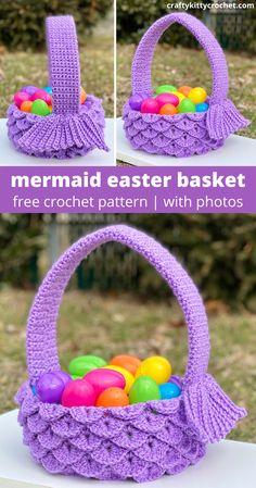 How to crochet a mermaid fin Easter basket - FREE pattern! Holiday Crochet, Crochet Gifts, Crochet Yarn, Free Crochet, Crochet Flowers, Easter Crochet Patterns, Crochet Basket Pattern, Crochet Mermaid Tail, Crochet Purses