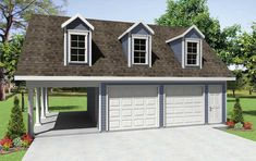 2 car garage with carport and extra storage on upper level.  Garage House Plan # 351223.