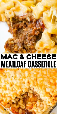 Mac and Cheese Meatloaf Casserole is a hearty dinner recipe with a ground beef meatloaf base with macaroni and cheese baked on top. dinner meatloaf Mac and Cheese Meatloaf Casserole - This is Not Diet Food Easy Healthy Recipes, Meat Recipes, Easy Dinner Recipes, Cooking Recipes, Top Recipes, Breakfast Recipes, Beef Dishes, Pasta Dishes, Ground Beef