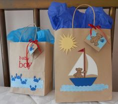 gift bags, baby shower, boy