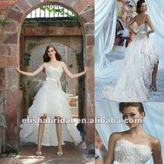 Organza Lace Strapless Sweetheart Sheer Corset Bodice Short Front Long Back Wedding Dress
