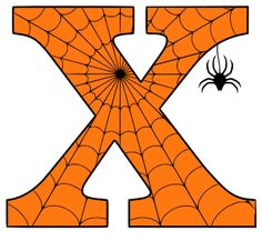 Free printable X - Halloween letter. alphabet clipart stencil coloring page sheet template with spider and cob web pattern digital download. Halloween Letters, Halloween Fonts, First Halloween, Halloween Crafts, Alphabet Letter Templates, Alphabet Stencils, Printable Letters, Free Printable, Pumpkin Carving Stencils Free