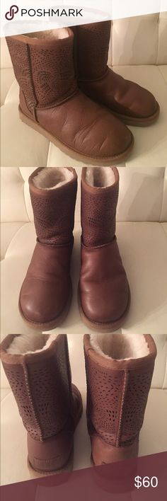 UGG boots in size 7 Ugg Australia Triana Seaweed Perforated boots in size 7. Used condition. UGG Shoes Winter & Rain Boots