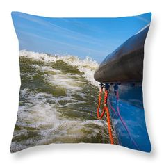 Adventure Throw Pillow featuring the photograph Riding The Storm. by Jan Brons. Riding the storm.     Surfing the high waves, caused by very strong winds, on a motor yacht. Nearly lost my camera in action as I was taking this picture.