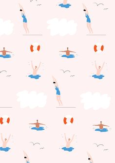 swimmers pattern by Nina Cosford Art And Illustration, Illustration Inspiration, Pattern Illustration, Pattern Texture, Surface Pattern Design, Pattern Art, Motifs Textiles, Textile Patterns, Photoshop