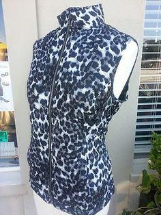 Chico's Weekends Vest Animal Print leopard Size 1 M Black