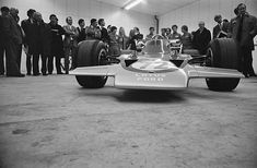 Lotus 72 The new Formula One racing car, the Lotus designed by Colin Chapman and Maurice Philippe of Lotus, UK, April (Photo by Norman Quicke/Daily Express/Getty Images) Jochen Rindt, Lotus F1, Racing Events, Daily Express, F1 Racing, Formula One, Gold Leaf, Grand Prix, Norman
