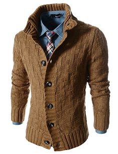 Slim Fit Turtle Neck Knitted 7 Button Pattern Cardigan >I'm loving the sweater and denim shirt combo!!