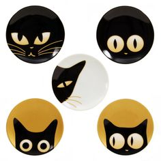 Who doesn't love being stared at while they eat? The fuzzballs on the Cat Eye Ceramic Plate Set are just checking out what you're eating. Made of fine porcelain with gold details, your new furry friends are merely curious if they can have some milk with your dessert.