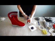 Wet Felting, Needle Felting, Fabric Crafts, Sewing Crafts, Felt Boots, Felted Slippers, Felting Tutorials, How To Make Shoes, Felt Diy