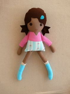Fabric Doll Rag Doll Brown Haired Girl in Blue and por rovingovine
