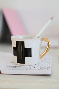 Cross mug with gold handle