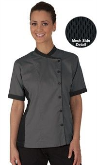 Este me gusta mucho para hacerlo en blanco y verde. Women's Mesh Side Panel Chef Coat - Snap Front Closure - 65/35 Poly/Cotton Fine Line Twill