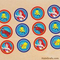 little mermaid toppers {FREE} Printable Disney Little Mermaid Cupcake Toppers