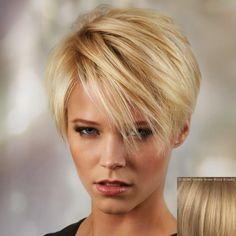Ultrashort Side Bang Fluffy perruque de cheveux humains pour les femmes