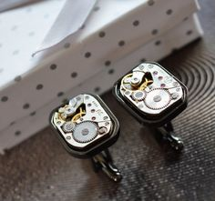 Cuff Links for man movement watches by steampunkerstudio on Etsy