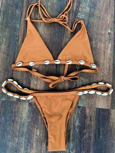 Sexy Women Bikini Set Handmade bandage Triangle Swimwear Beach Swimsuit Shell Bikini Set Bathing Suit - March 17 2019 at Halter Bikini, Bikini Dos Nu, The Bikini, Bikini Swimwear, Sexy Bikini, Bikini Beach, Bikini Tops, Bikini Retro, Bikini 2018