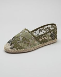Lace Espadrille Flat, Green by Valentino at Neiman Marcus.