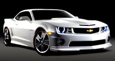 2012 Chevy Camaro. In white, ofcourse (all my cars are white!) and HALO headlights!