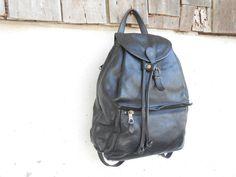 Vintage Authentic IL Bisonte Black Leather Backpack by VindicoShop, $325.00