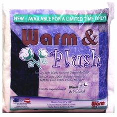 Warm and Plush batting  (new product) all natural cotton batting