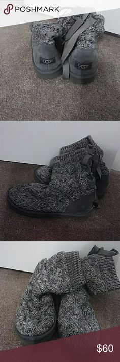 Ugg boots Gray ugg knitted boots.  Slightly worn. UGG Shoes Winter & Rain Boots