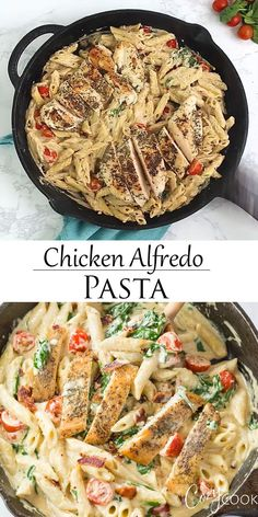 This easy Chicken Alfredo Pasta recipe has penne that's tossed in a creamy alfredo sauce with spinach and tomatoes. This easy dinner recipe will be a hit at your dinner table! # Food and Drink dinner videos Chicken Alfredo Pasta Pasta Recipes Video, Chicken Pasta Recipes, Healthy Chicken Recipes, Cooking Recipes, Spinach Pasta Recipes, Yummy Pasta Recipes, Crockpot Recipes, Pasta Alfredo Con Pollo, Pate Alfredo