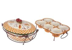 Temp-tations Fall Harvest 2 qt. Oval Covered Baker with Muffin Pan NEW IN BOX #TempTations