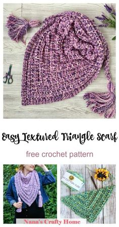 The So Long Summer Crochet Triangle Scarf is a free crochet pattern for a beautifully textured yet so easy comfy triangle scarf! Made with squishy soft cotton yarn for a comfy and soft feel. Textured ridges and easy to memorize stitch repeat. Crochet With Cotton Yarn, Crochet Yarn, Free Crochet, Crochet Vests, Crochet Shirt, Crochet Scarves, Knitted Shawls, Crochet Patterns, Crochet Edgings