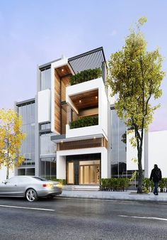 The Best Duplex House Elevation Design Ideas you Must Know Modern Townhouse, Townhouse Designs, Small House Design, Modern House Design, Modern Exterior, Exterior Design, Building Design, Building A House, Casas Containers