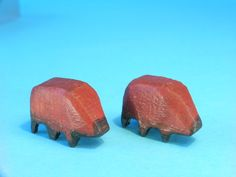 Vintage Erzgebirge Noahs Ark Pair OF Carved Wooden Insects 19th Century German  