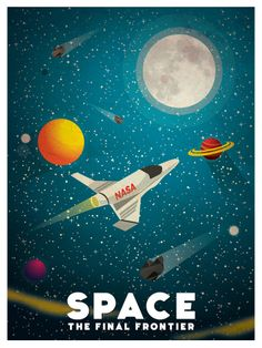 Vintage space poster space rocket 50x70 cm vintage for Outer space poster design