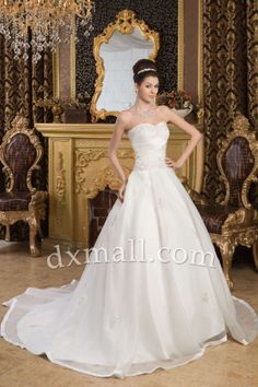 Ball Gown Wedding Dresses Strapless Court Train Organza Satin Ivory 010010200483