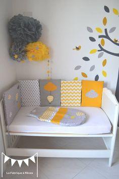 mobile étoiles blanc jaune gris décoration chambre enfant bébé ...