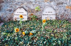 There are sunflowers on Vincent Van Gogh's grave and they are bright yellow and alive. And I think that's quite beautiful.