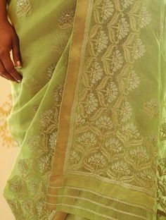 Lime Green Handwoven Sequined Kota Tissue Saree with Real Zari by Vidhi Singhania Sarees, Hand Weaving, Lime, Blouses, Embroidery, My Style, Stuff To Buy, Fashion, Needlework
