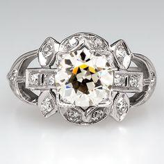 Antique Engagement Ring Old Euro Diamond Platinum 1920's