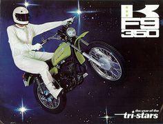 Vintage Kawasaki F9 350cc Retro Motorcycle Ad... The Year Of The Tri-Stars!